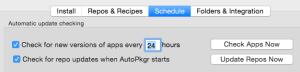 Configure AutoPkgr schedule