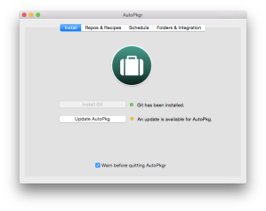 AutoPkgr update dialog