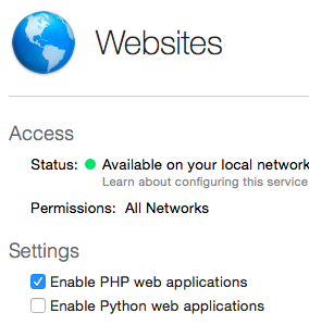 Enable PHP server.app