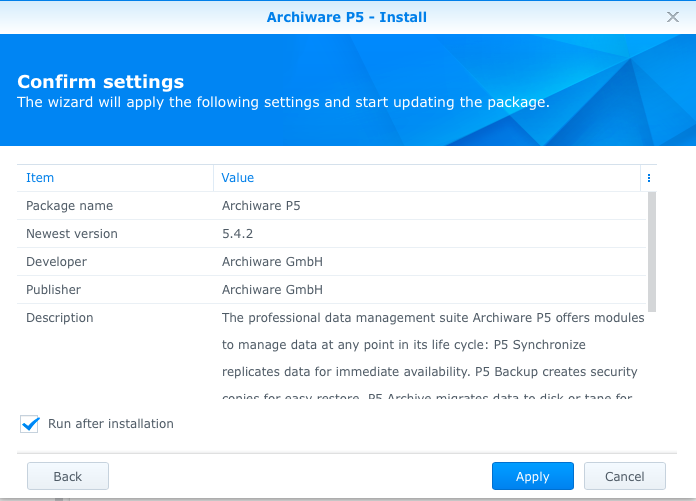 synology-1515-archiware-p5-package-center-confirm-install