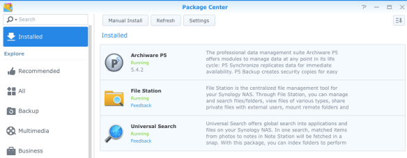 synology-1515-archiware-p5-package-center-installed