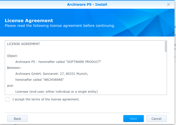 synology-1515-archiware-p5-package-center-license