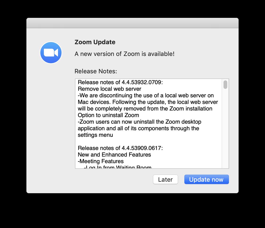 Zoom update