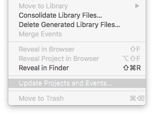 fcpx 10.2.3 dialog box to update projects