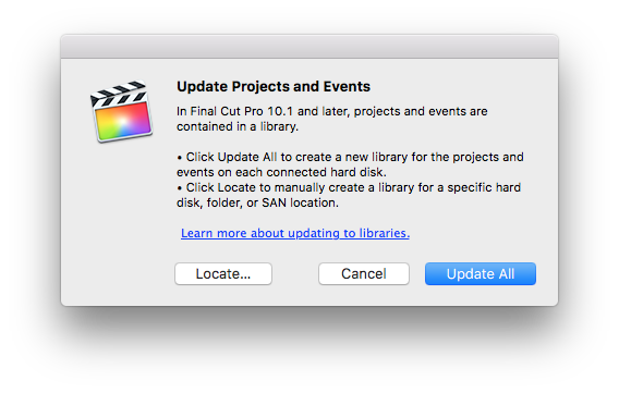 fcpx 10.23. update projects and events dialog