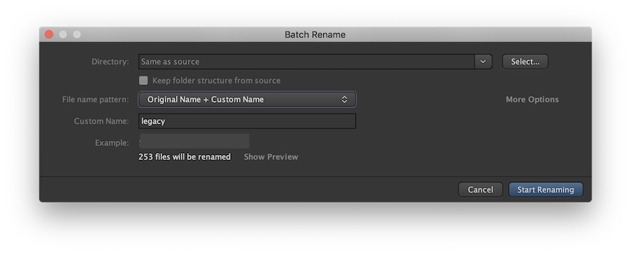 Kyno batch rename dialog box